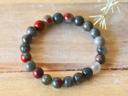 African Bloodstone Crystal Bracelet Benefits For Cleansing Benefits Men's Bracelet LARGE Bloodstone Beaded Protection Jewelry