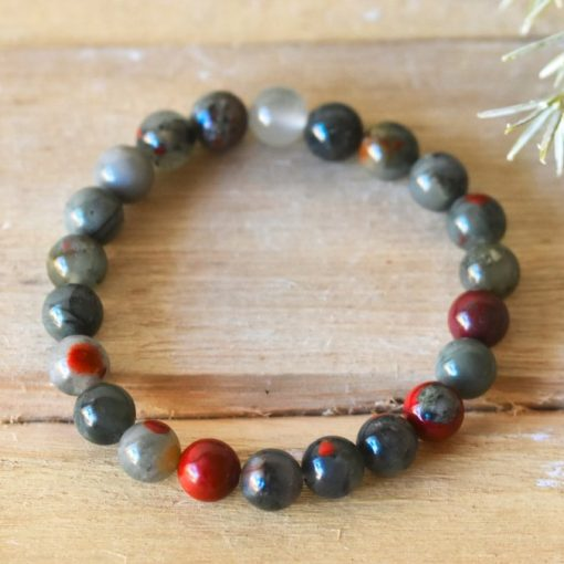 Men's Bracelet Gift African Bloodstone Crystal Bracelet Benefits For Cleansing Benefits LARGE Bloodstone Beaded Protection Jewelry