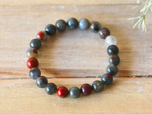 Natural Stone Bead Bracelet Gift African Bloodstone Crystal Bracelet Benefits For Cleansing Benefits LARGE Bloodstone Beaded Protection Jewelry