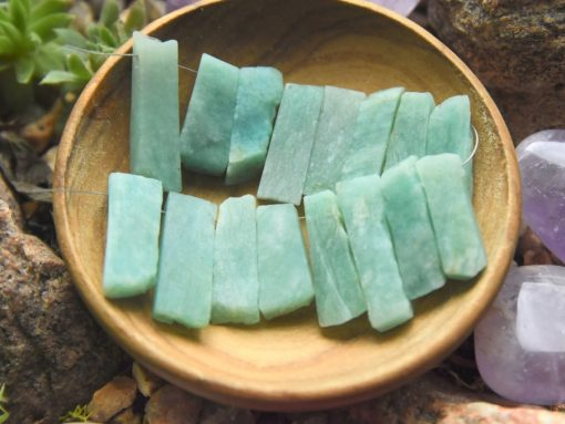 Raw Blue Amazonite Crystal Pencil Stick Beads Jewelry Supply Sale