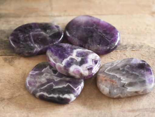 Purple White Chevron Amethyst Crystal Palm Stone Large Healing Crystal Massage Stone Reiki Therapy Tool