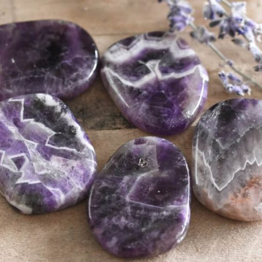 Banded Amethyst Chevron Amethyst Crystal Large Palm Stone Worry Stones Healing Crystals For Sale