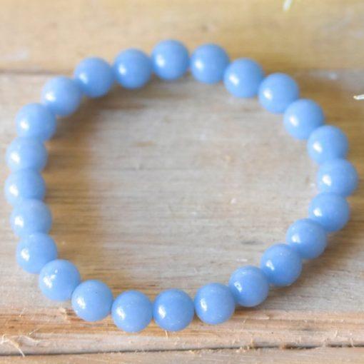 Natural Blue Angelite Crystal Gemstone Bracelet Jewelry Gift Idea For Best Friend Birthday
