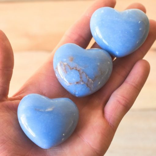 Angelite Stone Heart Shape Angelite Crystal Healing Stones Wholesale