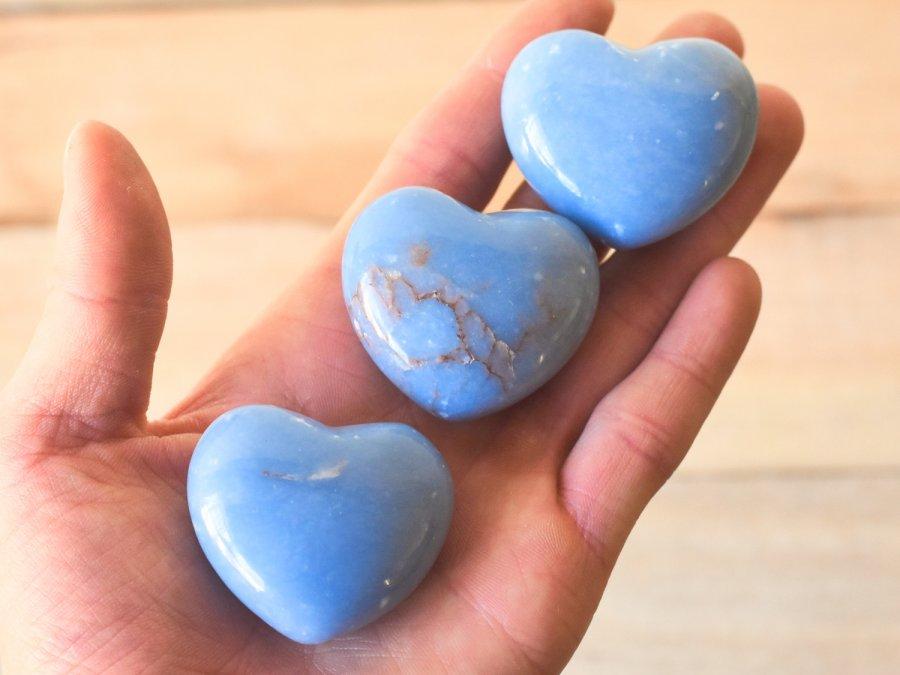 Angelite Stone Heart Shape Angelite Crystal Healing Stones Wholesale