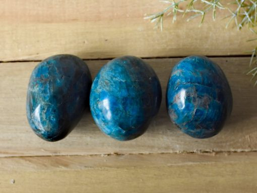 Deep Blue Apatite Crystal Palm Stone Gallet Large Blue Apatite Stones For Sale