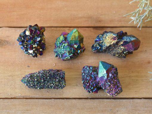 Peacock Aura Cactus Quartz Crystal Cluster iridescent Dark Rainbow Opal Druze Healing Crystals For Powerful Energy Charging