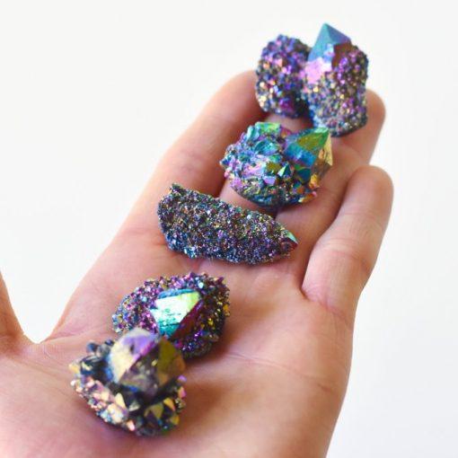 Dark Purple Rainbow Aura Quartz Crystal Druze Spirit Quartz Cactus Cluster Coated With Titanium Aura Quartz Iridescent Glittering Crystals