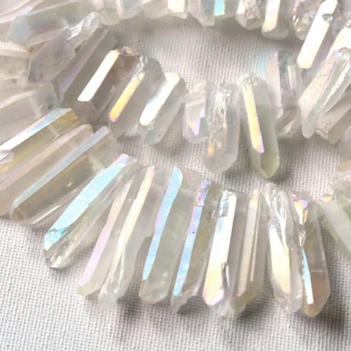 White Angel Aura Quartz Point Pencil Beads