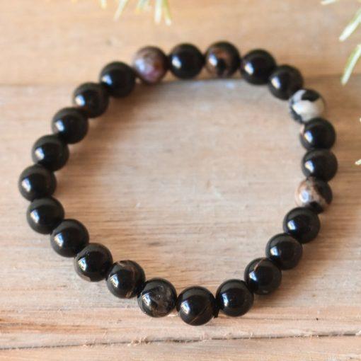 LARGE Black Tourmaline Bracelet For Men Stretch Bracelet Tourmaline Protection Stone Healing Crystal Jewelry Birthday Gift For Sale