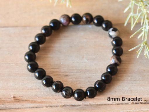 Raw Black Tourmaline Bracelet Stretch Bracelet   LARGE Tourmaline Protection Stone Healing Crystal Jewelry Birthday Gift For Sale