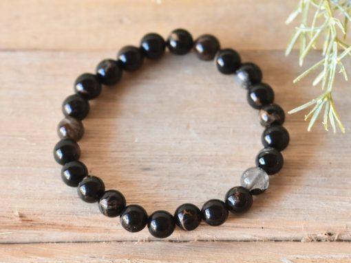 Black Tourmaline Men's Bracelet Bead Bracelet LARGE Tourmaline Protection Stone Jewelry Birthday Gift For Sale