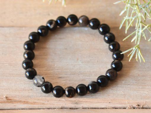 Men's Black Tourmaline Bracelet Stone Beads   Tourmaline Protection Stone Jewelry Gift
