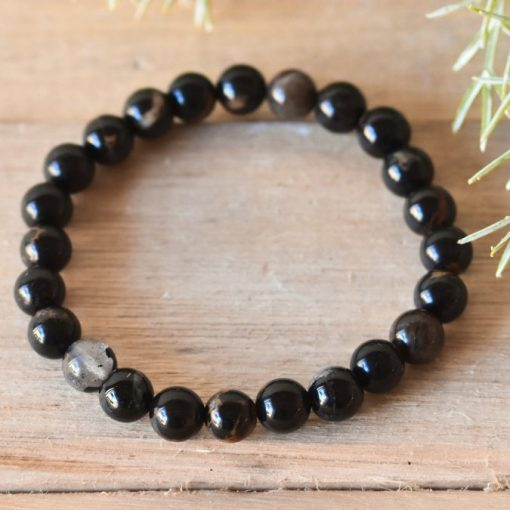 Men's Black Tourmaline Bracelet Stone Beads | Tourmaline Protection Stone Jewelry Gift