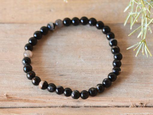 Natural Black Tourmaline Protection Bracelet Stone Beads Stretch Bracelet Jewelry | Tourmaline Healing Crystal For Sale