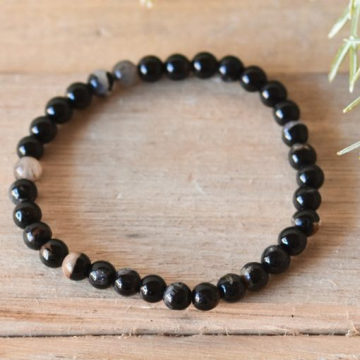 Natural Black Tourmaline Protection Bracelet Stone Beads Stretch Bracelet Jewelry | Tourmaline Healing Crystal For Sale