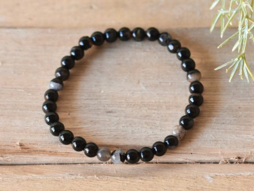 Black Tourmaline Crystal Protection Bracelet | 6mm Stone Beads Stretch Bracelet Jewelry | Tourmaline Healing Crystal Women's Bracelet