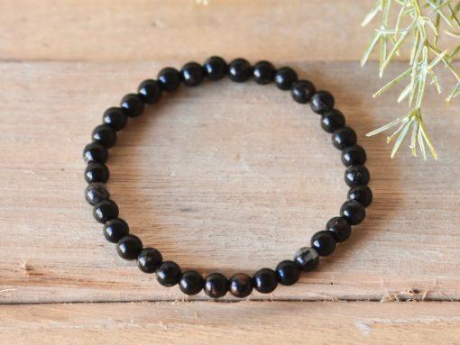 Black Tourmaline Crystal Bracelet Stone Beads Stretch Bracelet Jewelry | Tourmaline Healing Crystal Women's Bracelet Gift