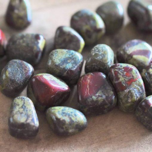 Polished Dragon's Blood Stone Tumbled Stone Healing Crystals Dragon Blood Bloodstone Heliotrope Bulk Sale