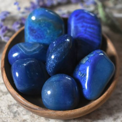 Natural Blue Agate Tumbled Stone Rocks Polished Raw Blue Agate Stones Sale Wholesale