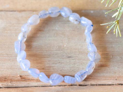 Light Blue Lace Agate Bracelet | Healing Crystal Communication Stone Meditation Jewelry Best Friend Birthday Gift Sale