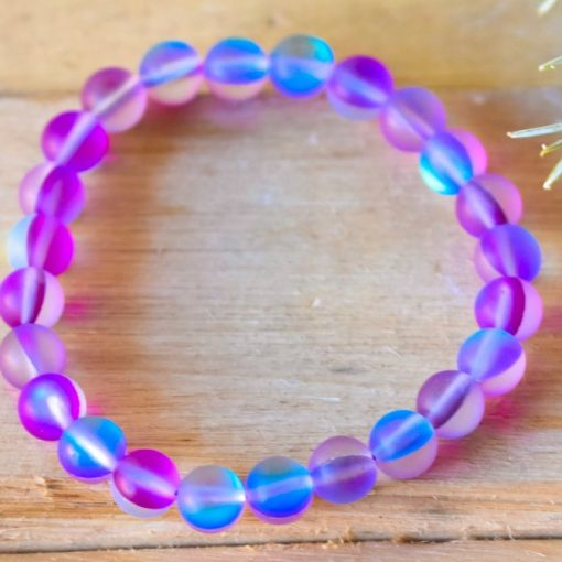 Lab Cats Eye Blue Purple Frosted Aura Quartz Crystal Jewelry Gift