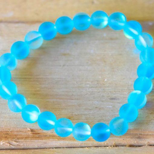 Sky Blue Aqua Aura Quartz Mystic Angel Crystal Glass Bracelet Wholesale