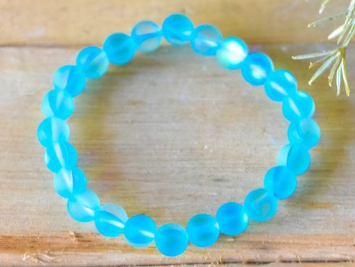 Blue Aqua Aura Quartz Crystal Matte Glass Bead Bracelet Gift