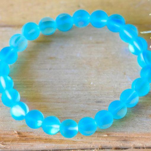Aqua Blue Mystic Aura Quartz Crystal Lab Moon Stone Bracelet Birthday Gift