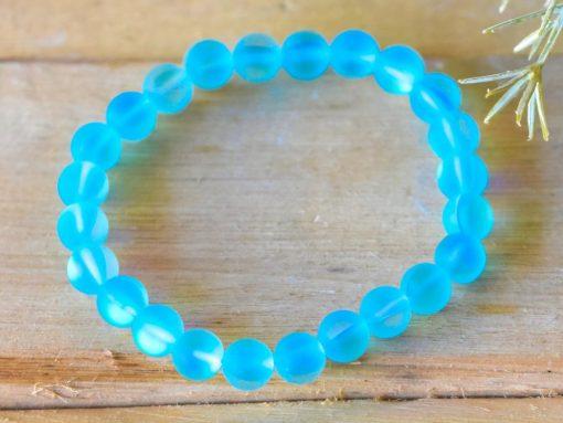 Blue Aqua Teal Mermaid Tears Glowing Glass Beaded Bracelet