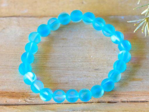 Aqua Aura Quartz Teal Blue Mermaid Tears Glowing Lb Moonstone Cat Eye Bracelet