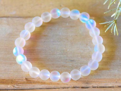 White AB Quartz Angel Aura Mermaid Tears Glowing Glass Crystal Bracelet
