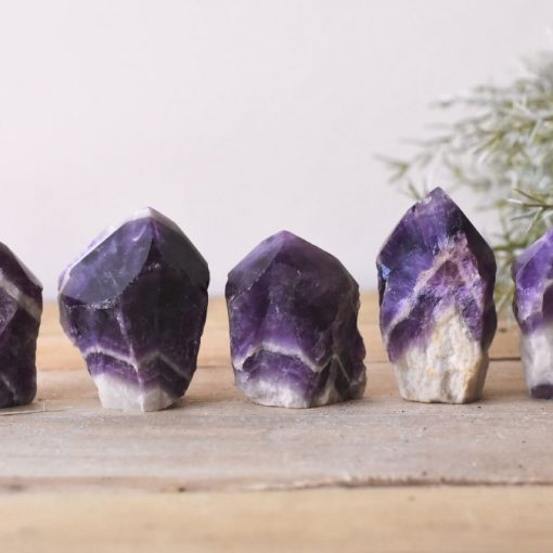 Raw Chevron Amethyst Point LARGE Amethyst Crystal Banded Stone Purple And White Amethyst Rough Raw Point Sale