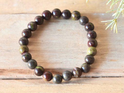 LARGE Dragon Blood Stone Bracelet 8mm Healing Crystal Bloodstone Jewelry Gift Sale