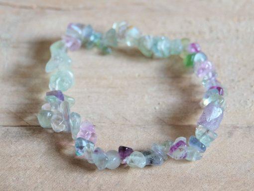 Rainbow Fluorite Stone Chips Bracelet Best Friend Gift