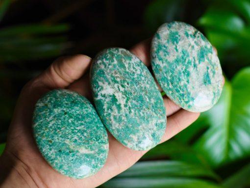 blue amazonite palm stone