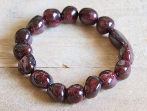 Natural Red Garnet Bracelet Tumbled Stone Beads Genuine Garnet January Birthstone Mom Sister Best Friend Birthday Gift Ideas