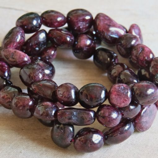 Red Garnet Crystal Tumbled Stones Garnet Nugget Bracelet For Best Friend Mom Birthday Gift Idea