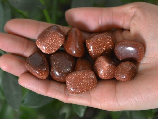 Wholesale Red Goldstone Tumbled Stone Red Gold Stone Rocks Pebble Stones Necklace Jewelry Supplies Bulk Sale