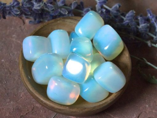 Loose Opalite Tumbled Stone Small Blue White Opalite Crystone Polished Stones Lab Moonstone Opal Bulk Sale Wholesale Crystals
