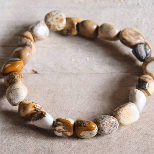 Natural Stone Picture Jasper Bead Bracelet Sale