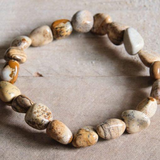 Picture Jasper Natural Stone Bead Bracelet Stretch Bracelets Jewelry Gift Sale