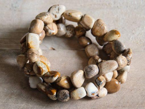 LARGE Picture Jasper Bracelet Healing Stone Crystal Bead Bracelets Jewelry Gift Sale