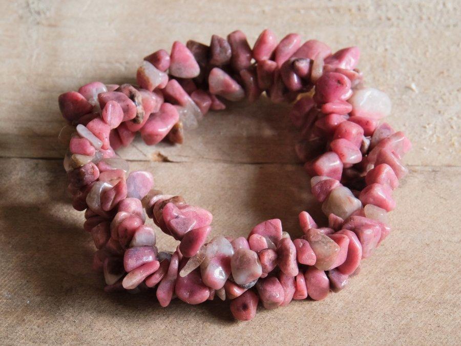 Pink Rhodonite Crystal Stone Bead Bracelet Sale
