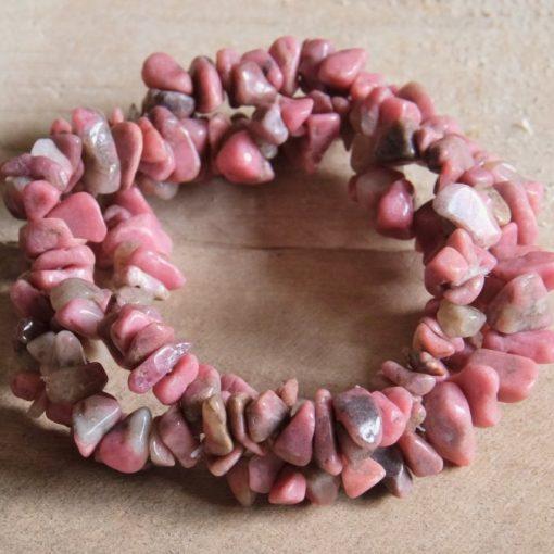 Large Pink Rhodonite Gemstone Bracelet Stone Chip Yoga Bracelets Rhodochrosite Healing Crystal Jewelry Gift Sale