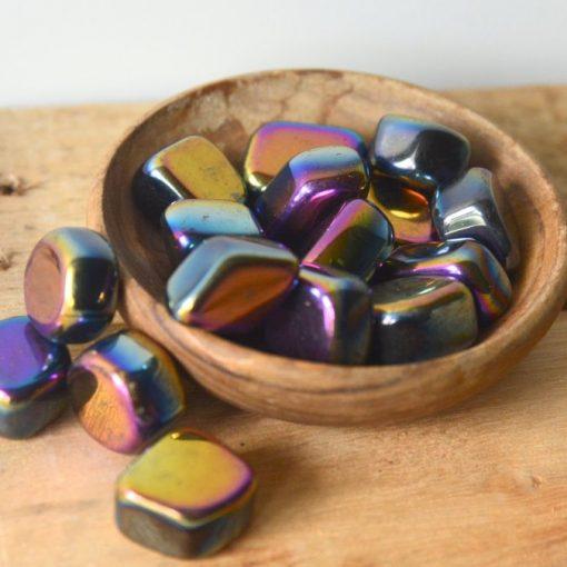Rainbow Hematite Tumbled Stone For Grounding Negative Energy Healing Crystal