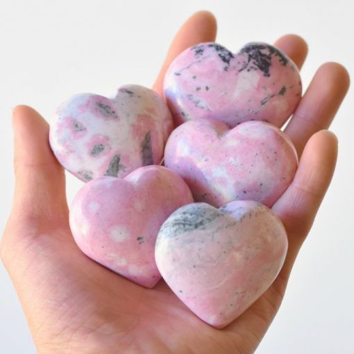 Pink Rhodonite Stone Heart Shape Carving Wholesale Crystals