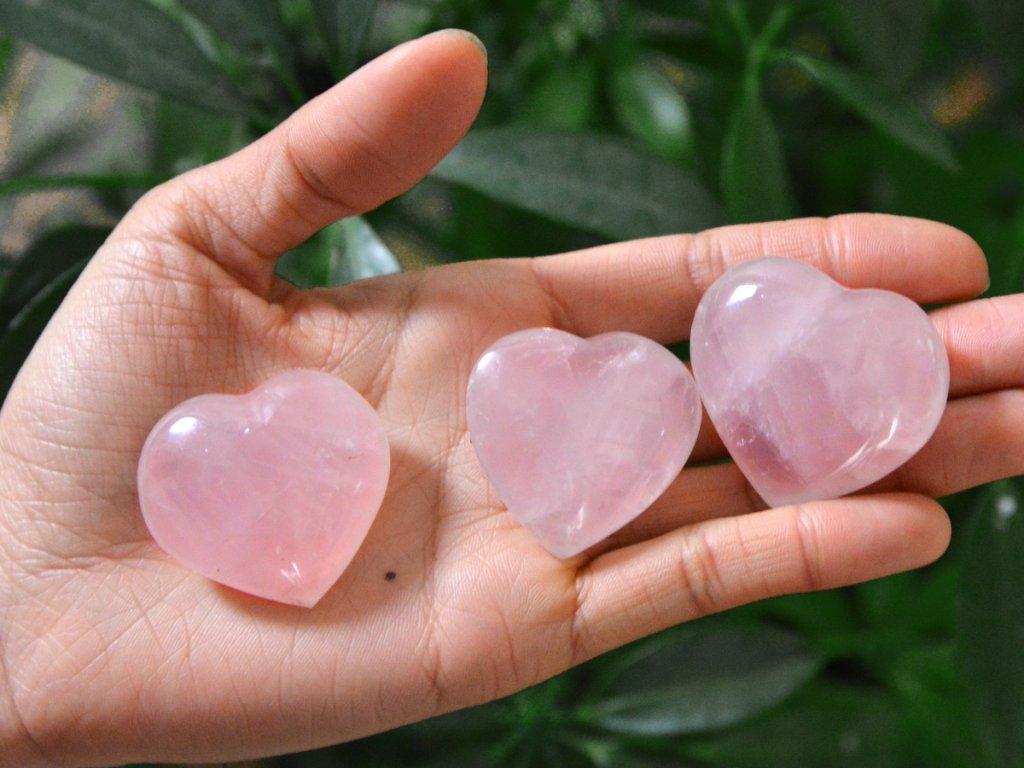 Pink rose Quartz Hearts Crystal Heart Shape Rose Quartz Stone Gift For Love Romance Mom Gift Idea