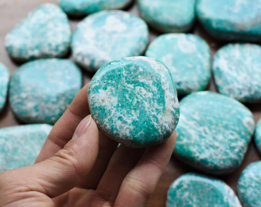 Blue Amazonite Crystal Is Used For Calming And Relaxing During Meditation