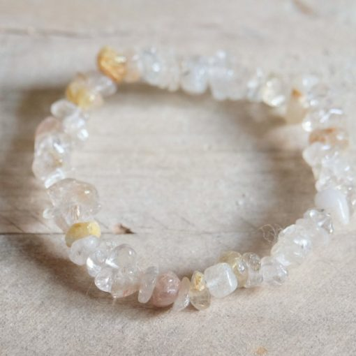 Clear Quartz Crystal With Gold Rutille Bracelet Jewelry Gift | Gold Rutilated Attunement Crystal Healing Crystal Bracelet Benefits And Properties